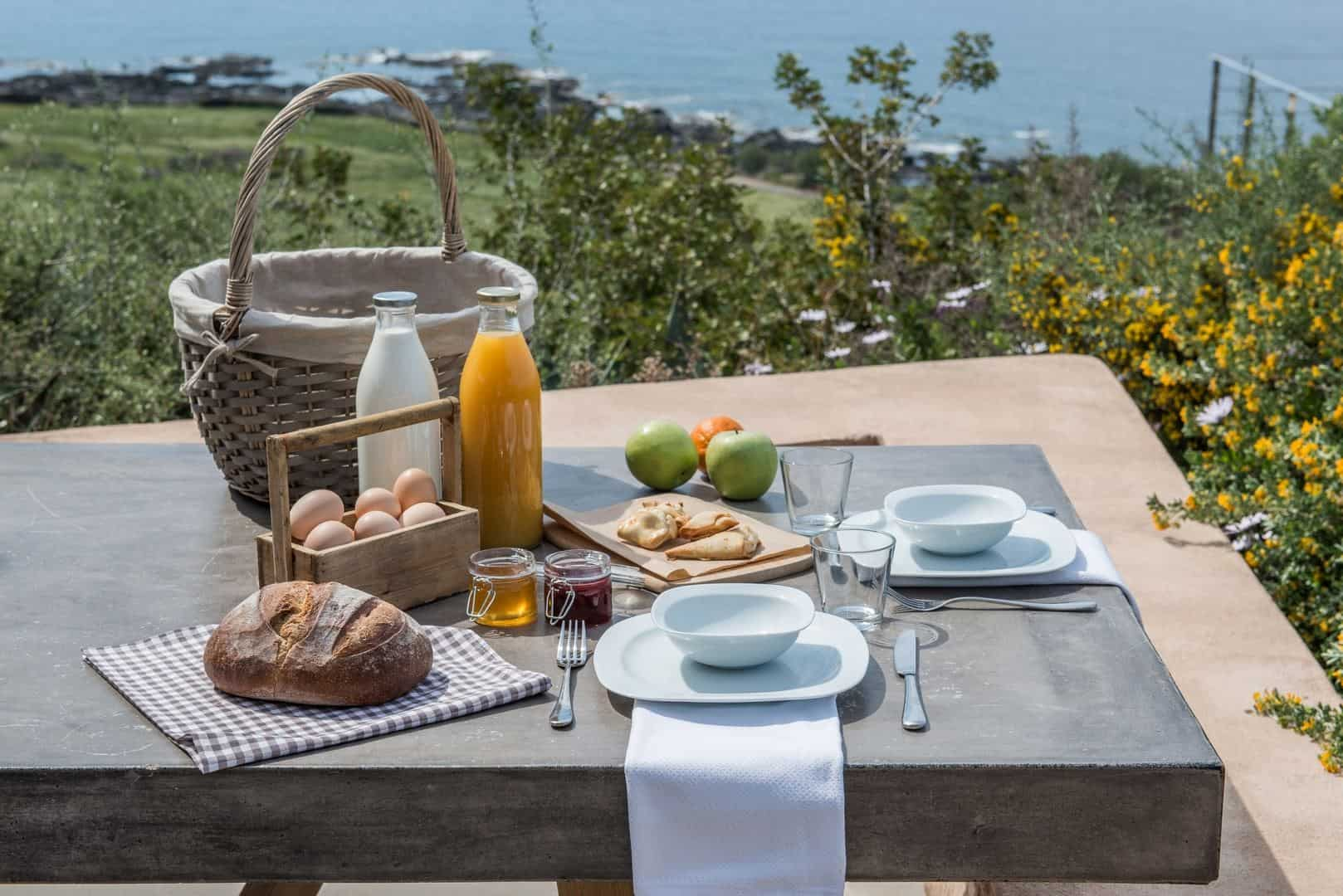 A breakfast hamper is delivered to the villa daily